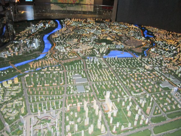 A view from east to west of Kashgar's Urban Planning model