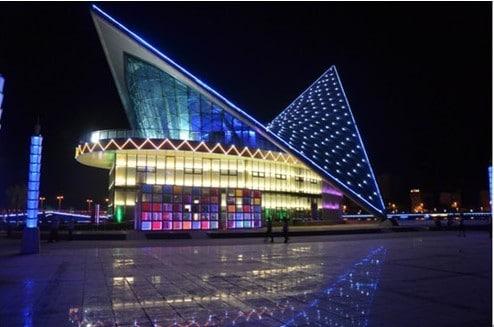 Kashgar's Urban Planning Hall at night