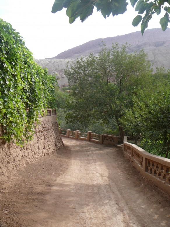 A path through Tuyoq Valley in Turpan, Xinjiang