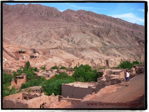 A view looking down on Tuyoq Valley in Turpan Xinjiang