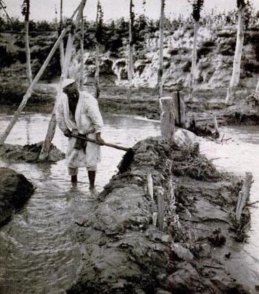 A Uyghur man digging irrigation, LIFE Dec 1943