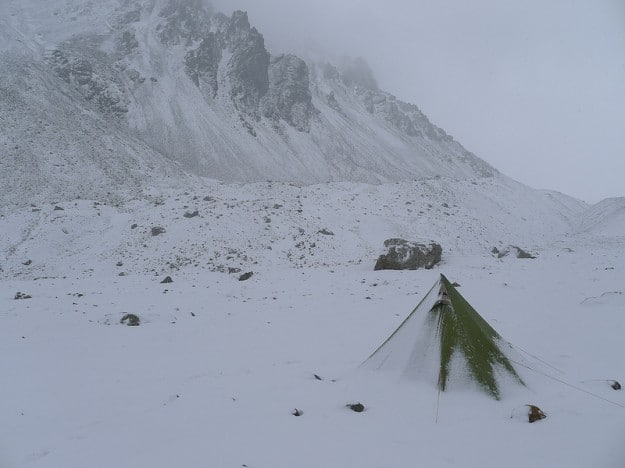 Camping in the freezing cold of Xinjiang's Tian Shan in China