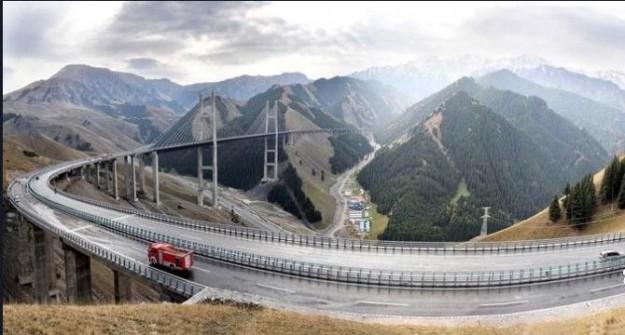 The Guozigou Bridge crossing the Yili Valley in Xinjiang, China