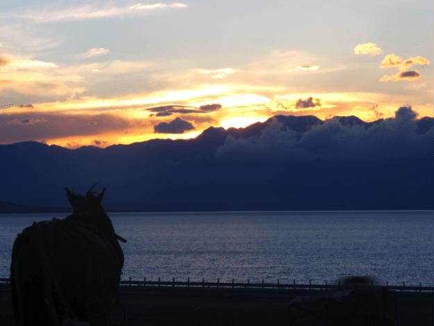 Xinjiang's Sayram Lake (Salimu) at dusk
