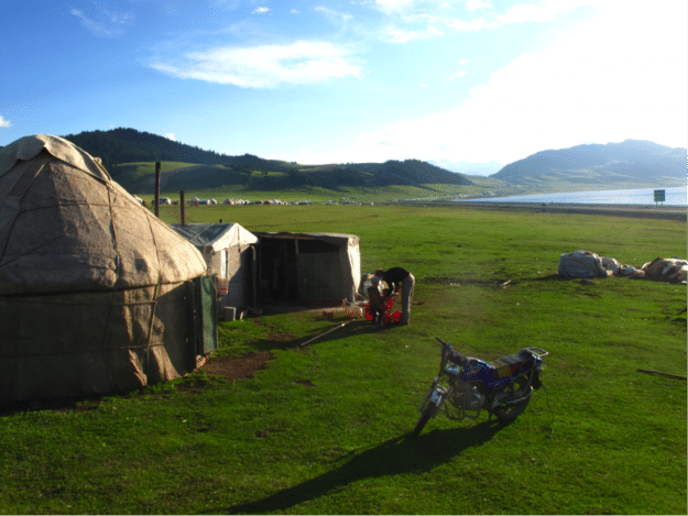 Yurt accommodations at Sayram Lake in Xinjiang, China