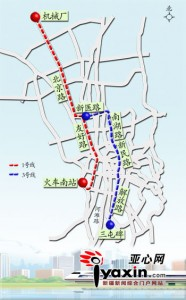 Map of the Urumqi BRT 1 and 3 lines