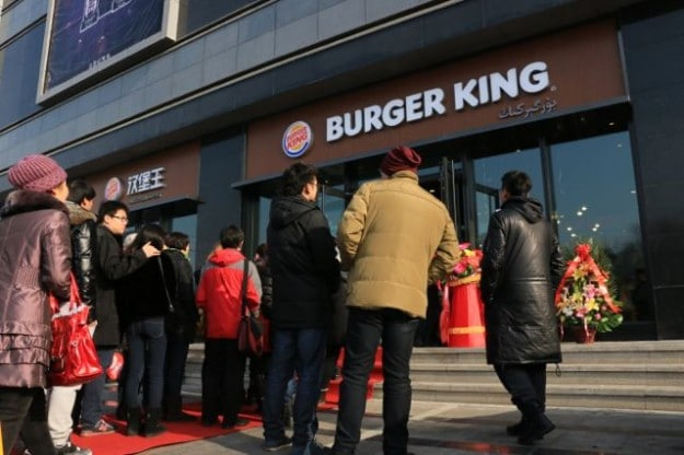 Waiting in line outside at the Burger King Grand Opening in Urumqi, Xinjiang