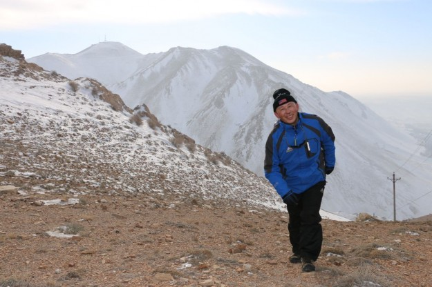 Our Uyghur hike leader on Yamalike Hill