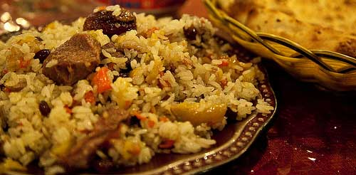 Dish of Uighur rice pilaf