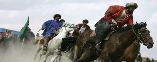 A rough game of the Central Asian Buzkashi sport