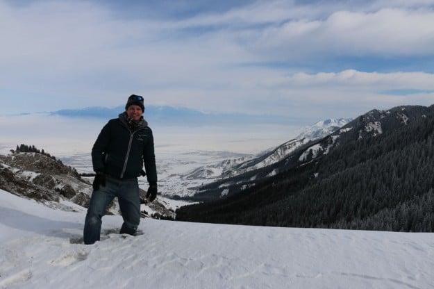 Josh standing in a couple feet of snow in the Urumqi NanShan