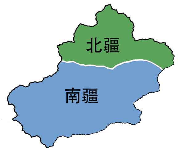 Dividing Xinjiang into north and south regions