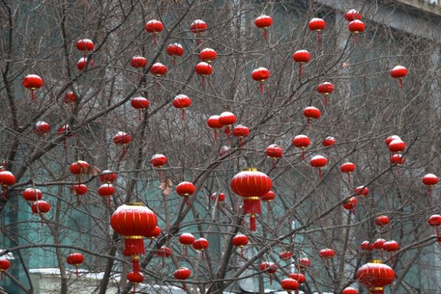 Decorations for the Chinese New Year in Urumqi, Xinjiang