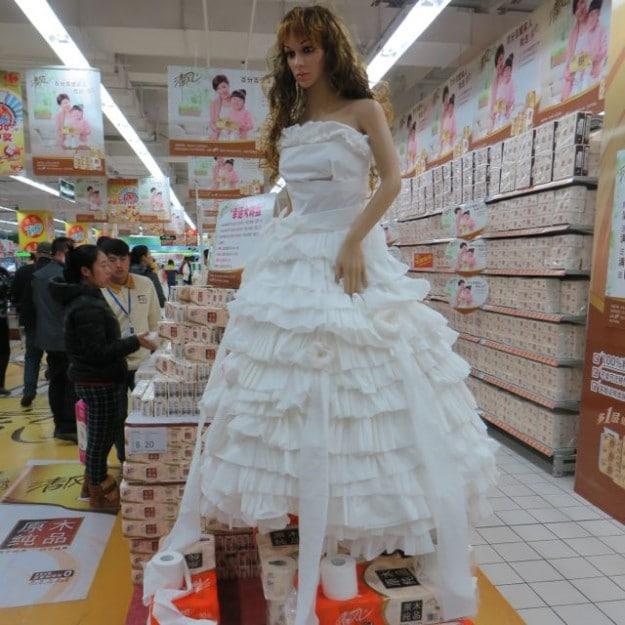 An incredible wedding dress made of toilet paper as seen in Xinjiang, China