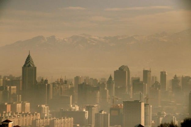 Pollution covering the Xinjiang capital of Urumqi