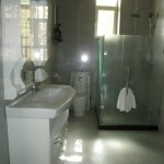 A view of the clean bathrooms at the Turpan Silk Road Lodge the Vines  in Xinjiang