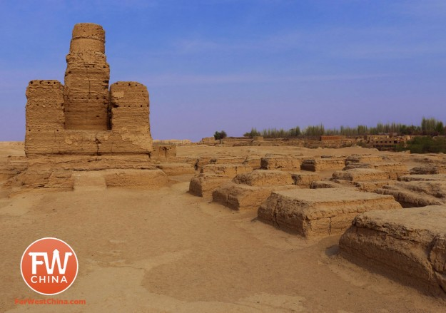 The stupa grove at the Turpan Jiaohe Ancient City ruins in Xinjiang