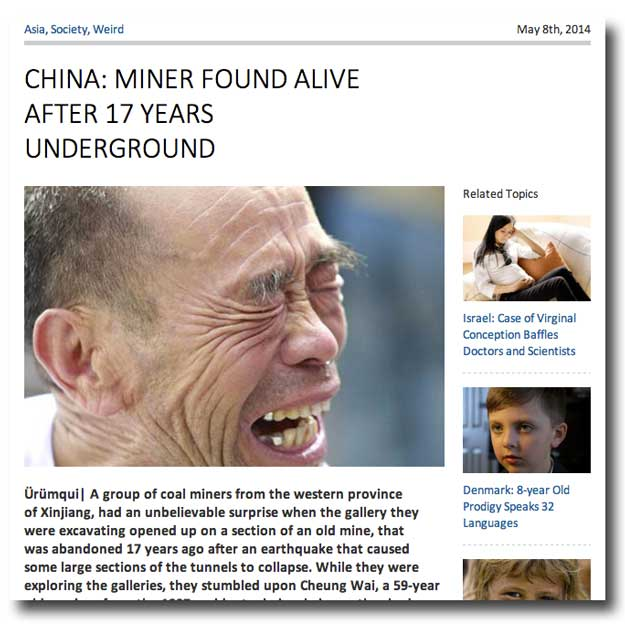 The fake story of a Urumqi Miner trapped for 17 Years