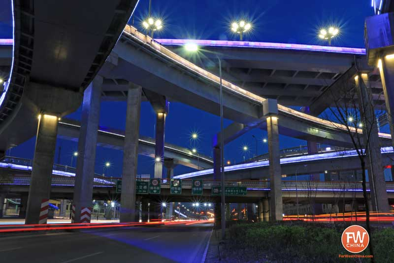 A view of the Urumqi highway system at night