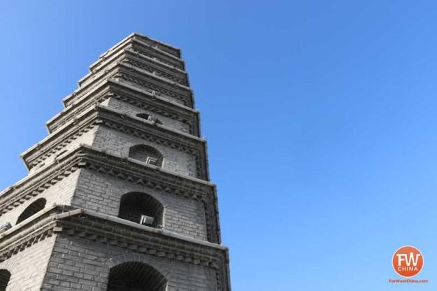 Looking up at a pagoda in Urumqi, capital of China's Xinjiang province