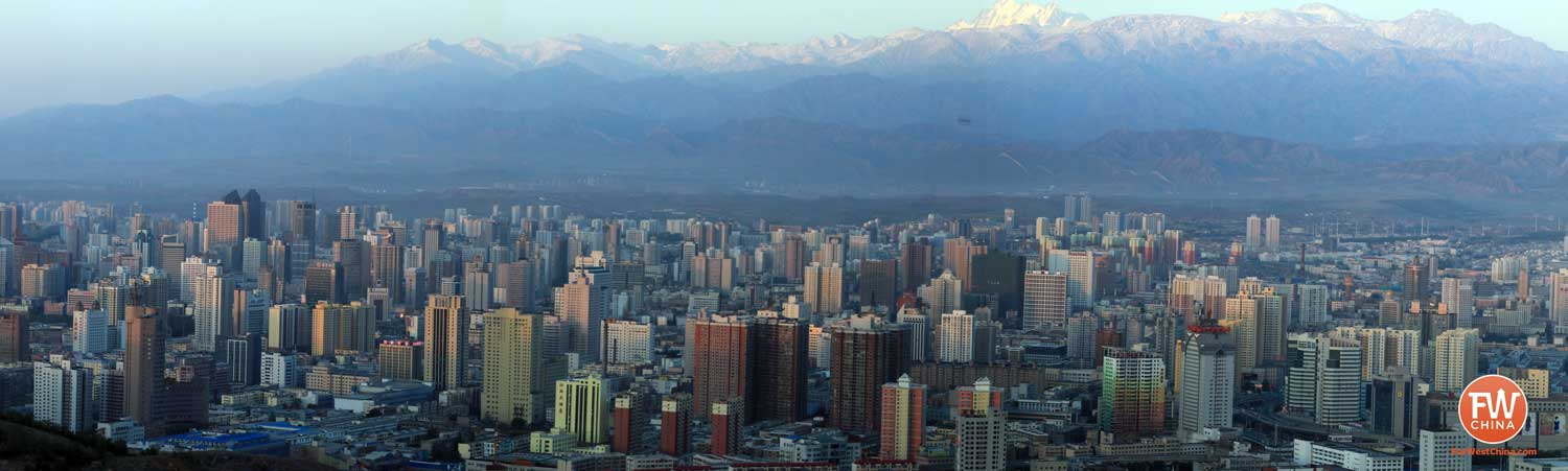 A panoramic view of Urumqi, Xinjiang with the Tian Shan in the background