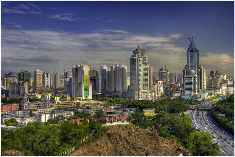 Urumqi cityscape as seen from Hong Shan Park in Xinjiang