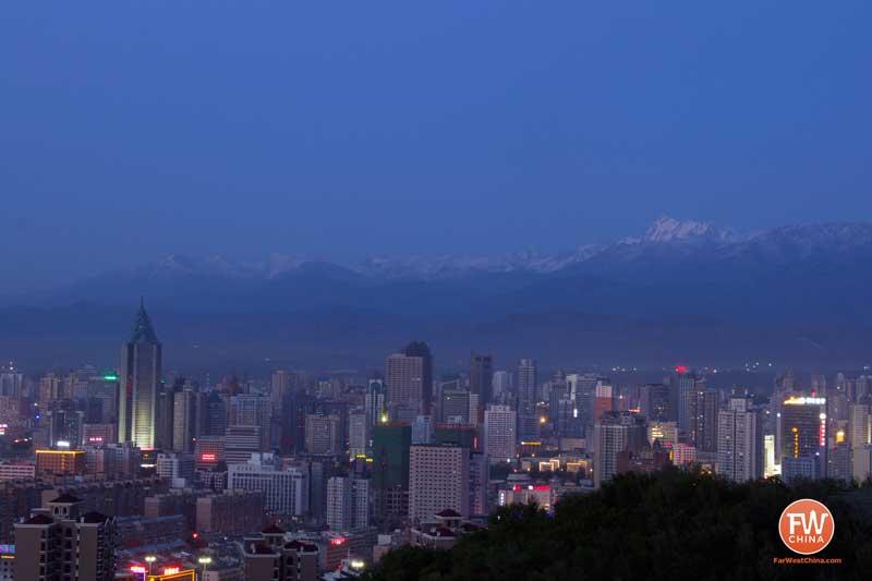 View of Urumqi, Xinjiang at dusk from Yamalike Hill