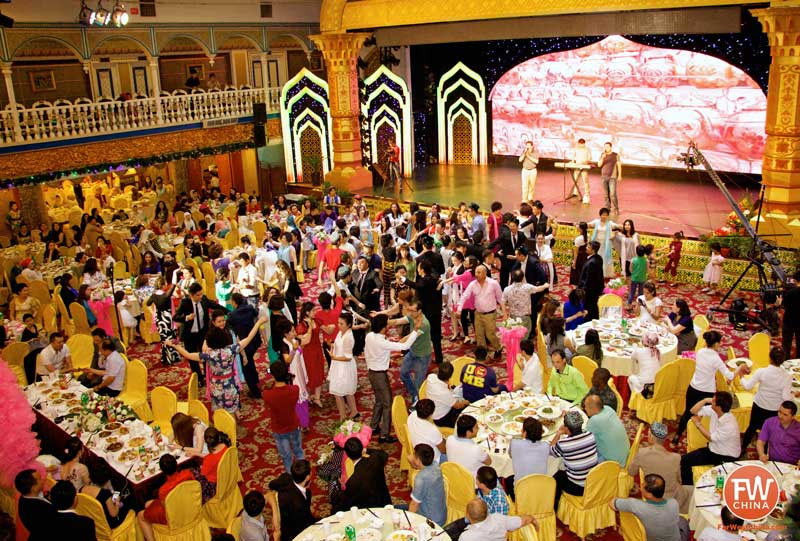 A wide view of a Uyghur wedding here in Urumqi, Xinjiang