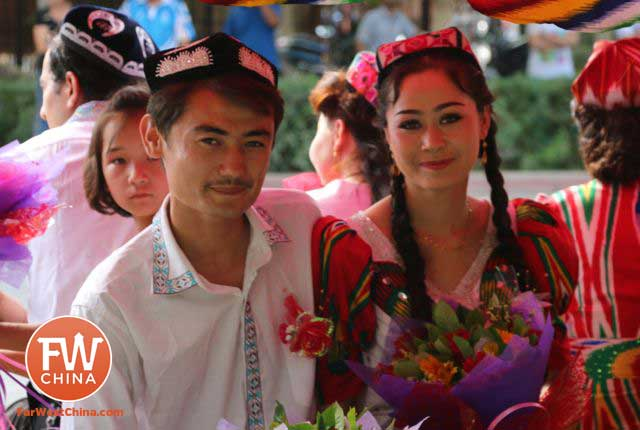 A Uyghur couple getting married in Turpan, Xinjiang