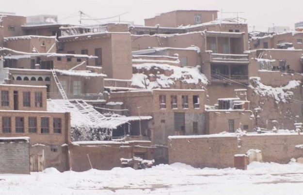 Kashgar's Old City covered in snow