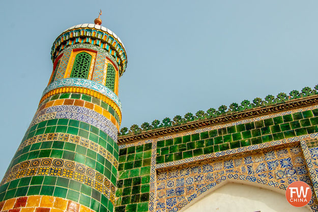A minaret from the Apak Khoja mausoleum in Kashgar, Xinjiang