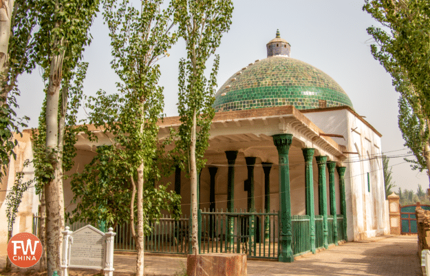A prayer hall at Kashgar's Apak Khoja Mausoleum in Xinjiang, China