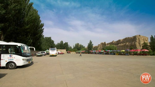 The current parking lot of the Jiaohe Ancient City in Turpan