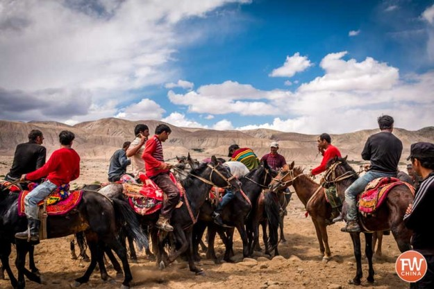 Buzkashi being played on a rocky plain in China's western region of Xinjiang