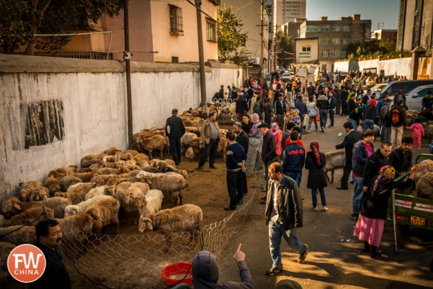 Sheep sellers gather in Urumqi, Xinjiang to sell during Corban
