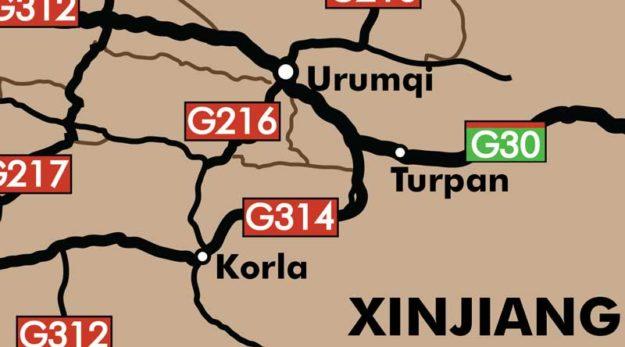 Urumqi to Korla Xinjiang Map