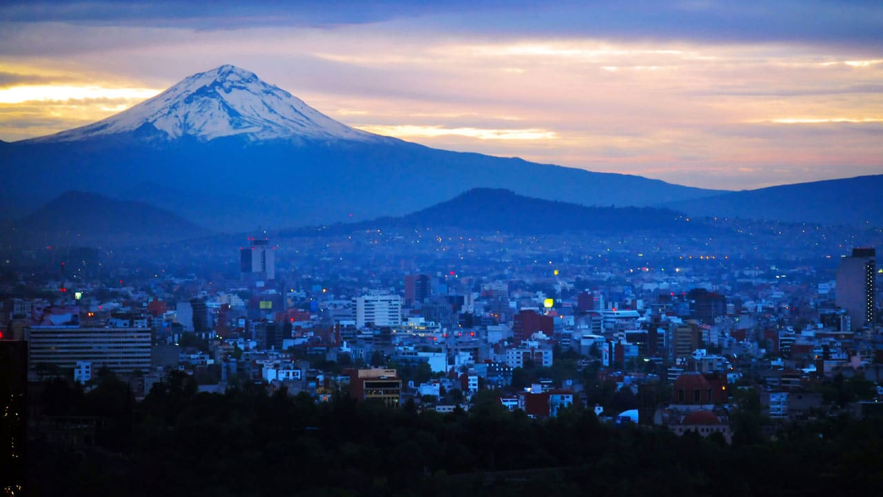 Mexico city as seen in at sunset