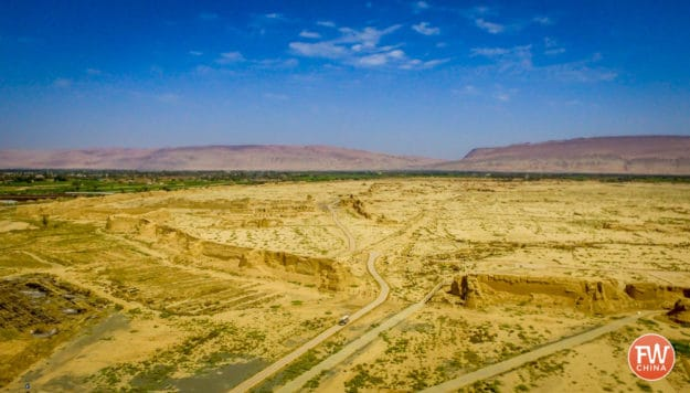 Aerial View of Turpan's Gaochang Ancient City