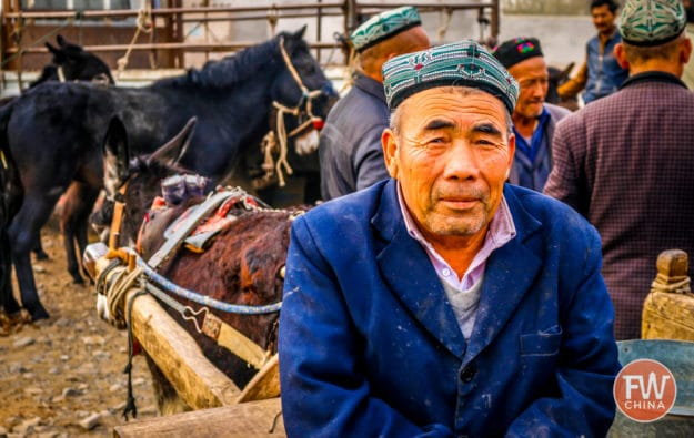Uyghur villager at the Turpan Livestock Market