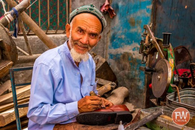 Uyghur shoe repairman