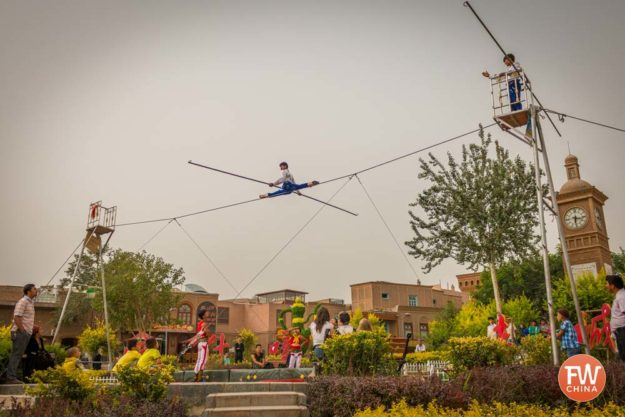 Uyghur tightrope walking (dawaz) in Kashgar, Xinjiang