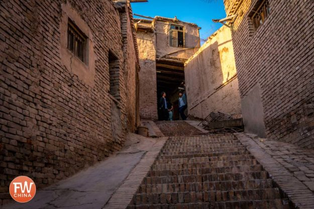A staircase going up the Kashgar Old City
