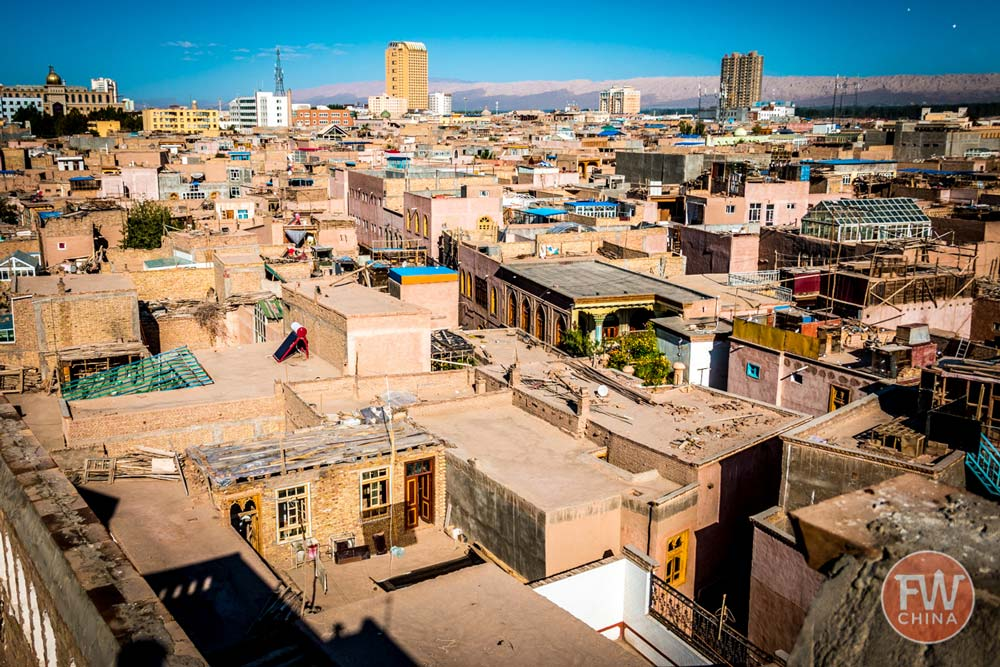 Bird's eye view of Kashgar's Old City in Xinjiang, China