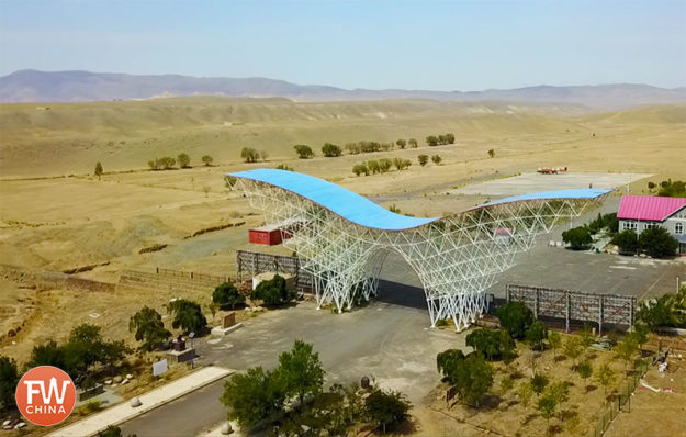 The wing structure at the gate of China's Heart of Asia near Urumqi, Xinjiang
