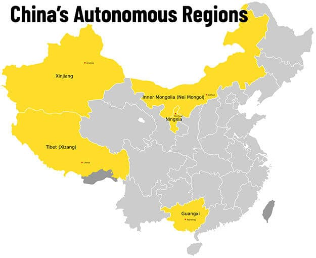 A map of China's Autonomous Regions