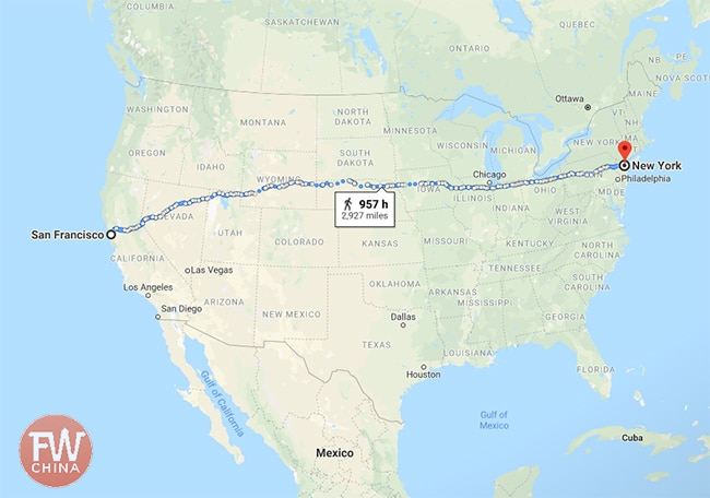 Length of the continental United States compared to the Uyghur karez