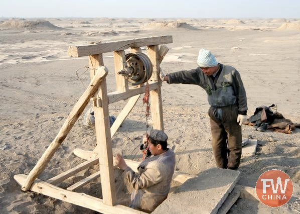 Ancient Uyghur pulley system used to dig the karez well system