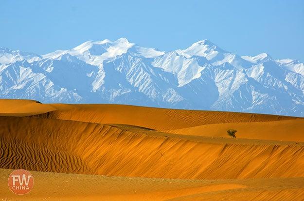 Kunlun mountains and the Taklamakan Desert