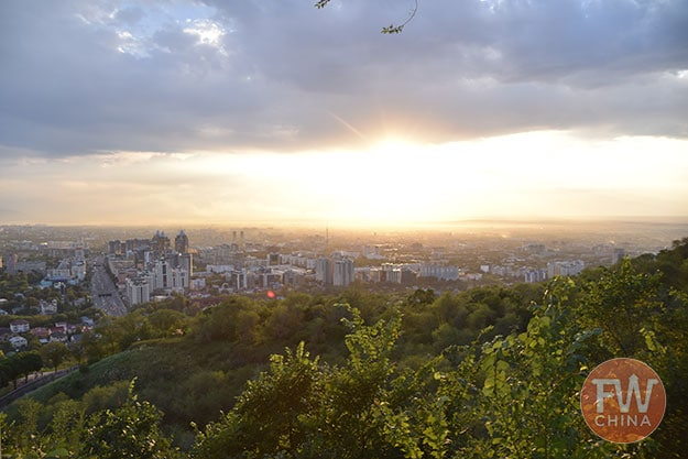 View of Almaty at sunset