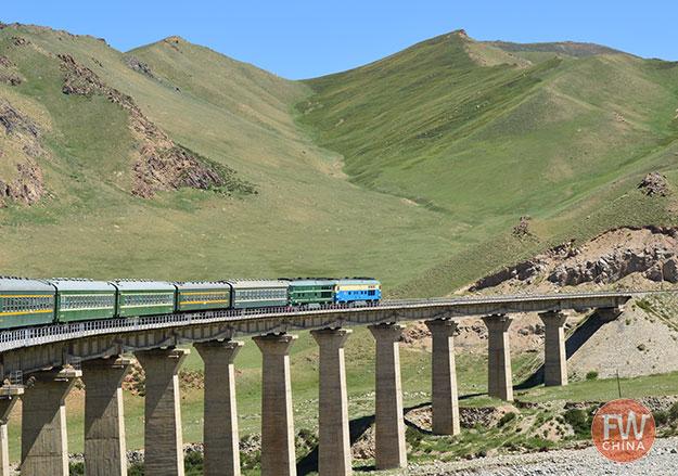 Xinjiang train on a bridge
